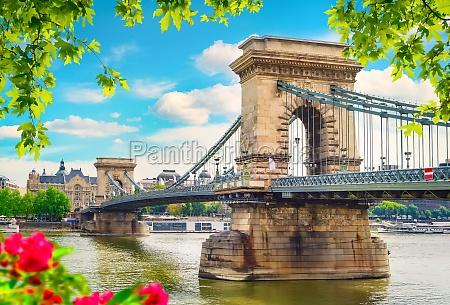flowers and chain bridge