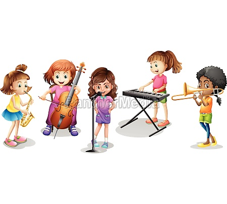 many kids playing different musical instruments