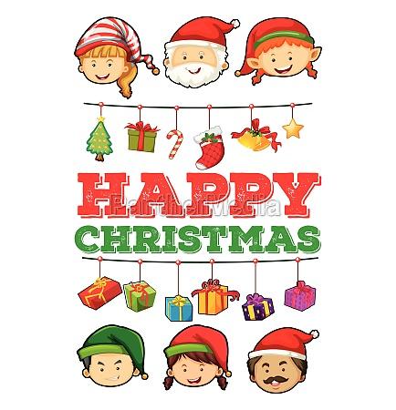 christmas card with christmas ornaments
