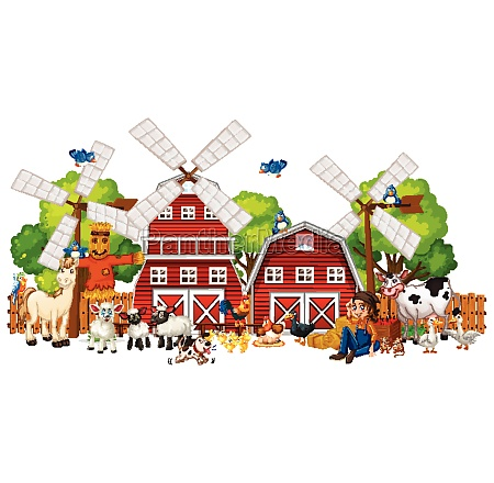 windmill with animal farm set isolated
