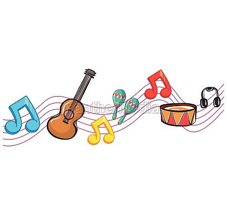 musical instruments and music notes in