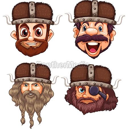 set of viking head