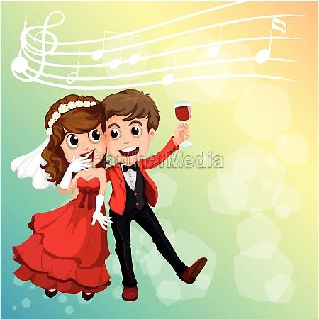 wedding couple celebrating with music notes