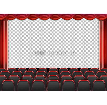 red curtains in theater with transparent