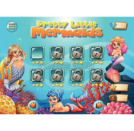 pretty little mermaid game template