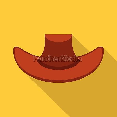 cowboy hat icon flat style