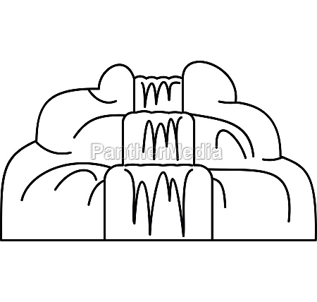 waterfall icon outline style
