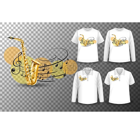 saxophone with music notes logo with