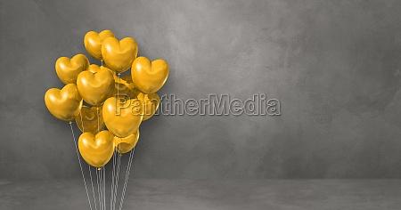yellow heart shape balloons bunch on