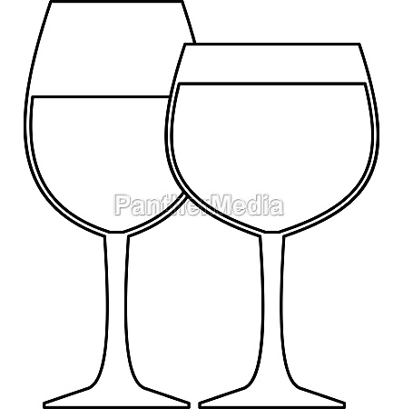 glasses of wine icon outline style