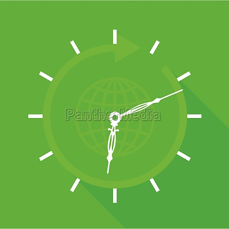 green clock with globe icon flat