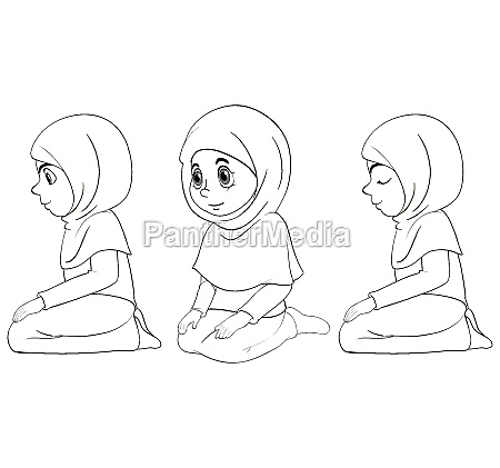 set of different position arab muslim