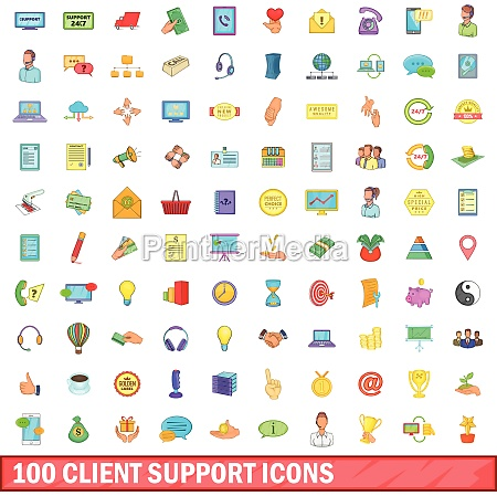100 client support icons set cartoon