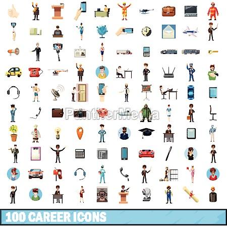 100 career icons set cartoon style