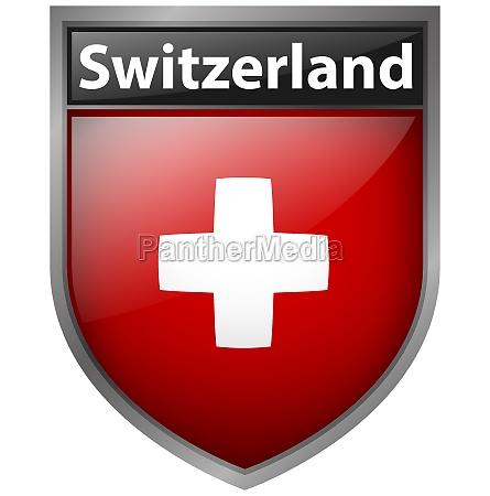 switzerland flag on badge design