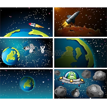 large set of earth and rocket