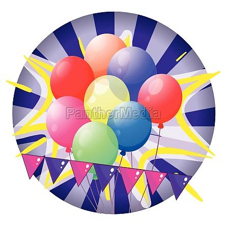 balloons inside the spinning wheel