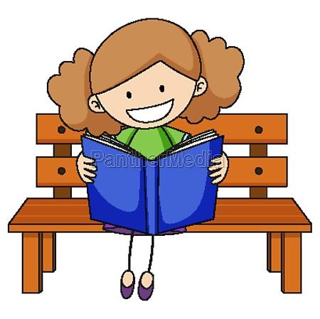 cute girl reading book doodle cartoon