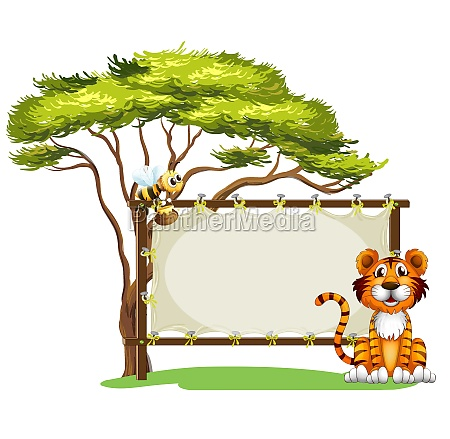 a blank signage with a tiger