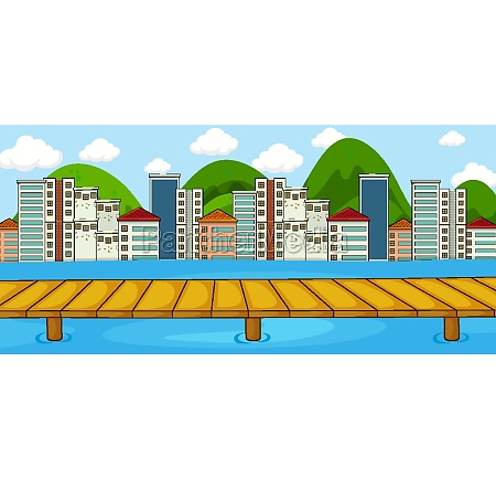 horizontal scene with river and cityscape