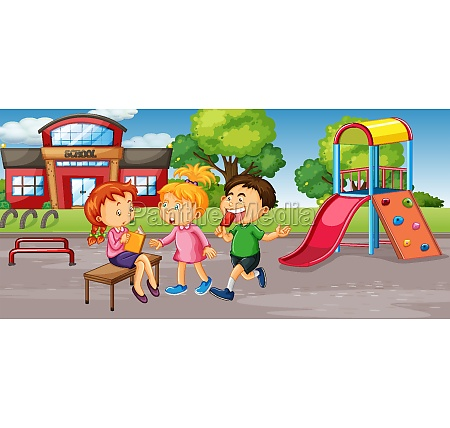 student at school playground