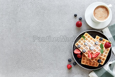waffles plate on table with blueberry