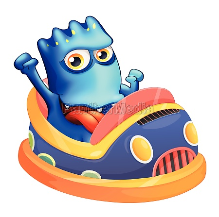 a bumpcar with a blue monster