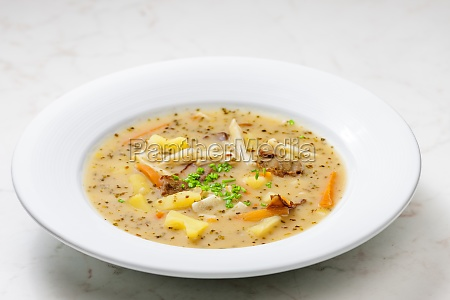 potato soup with mushrooms and carrot