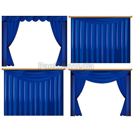 four design of blue curtains