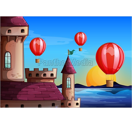 floating balloons near the castle