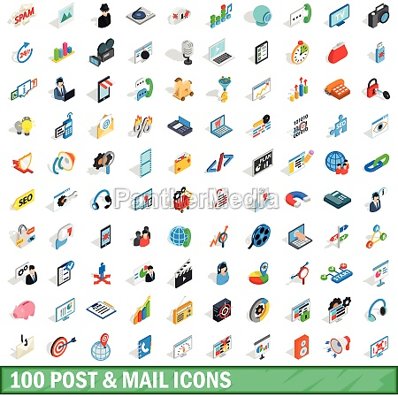 100 post and mail icons set