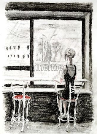 the girl sitting on a chair