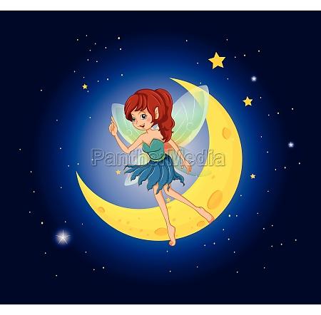 a fairy near the moon