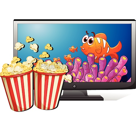 tv and popcorn