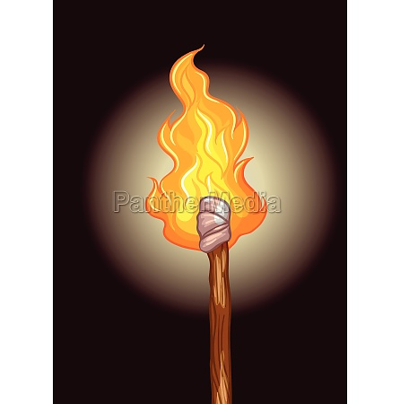 fire on wooden stick