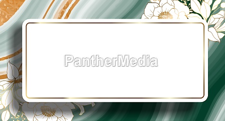 plants line gold green marble with