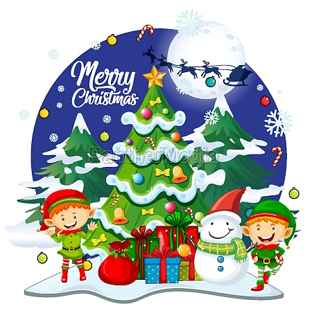 merry christmas font with cute elf