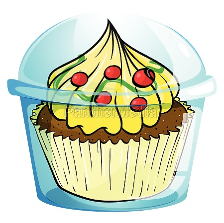 a cupcake inside the container