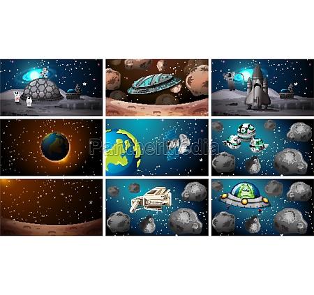 set of various space scenes