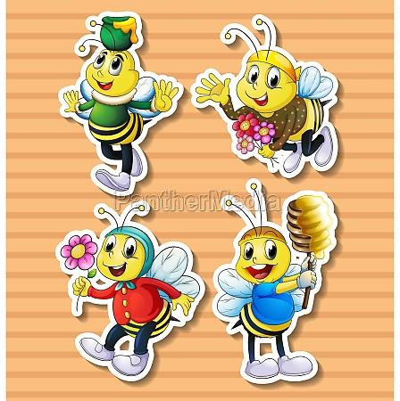 cute bee in costumes
