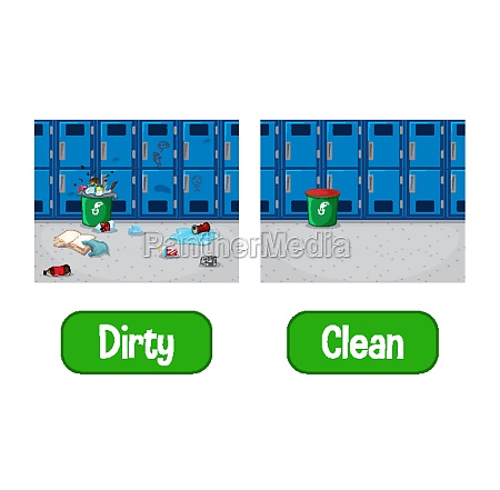 opposite adjectives words with dirty and