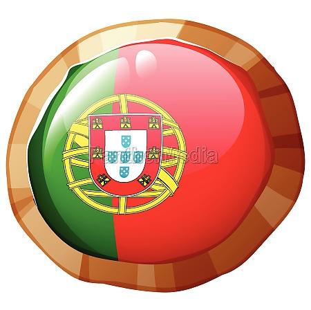 portugul flag on round badge
