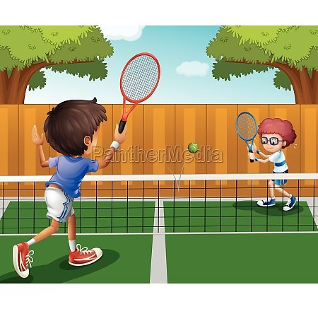 two boys playing tennis inside the
