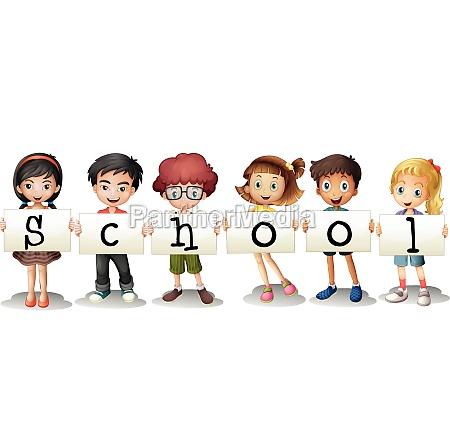 six adorable students