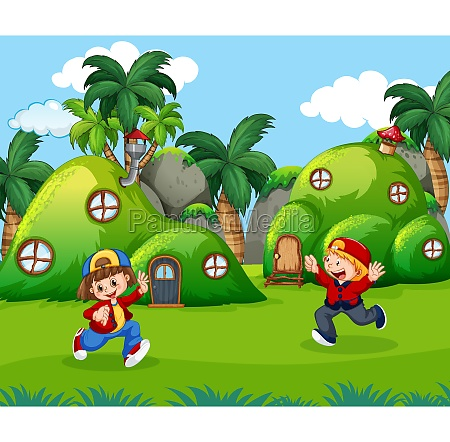 children playing in fantasy land