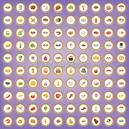 100 national cuisine icons set in