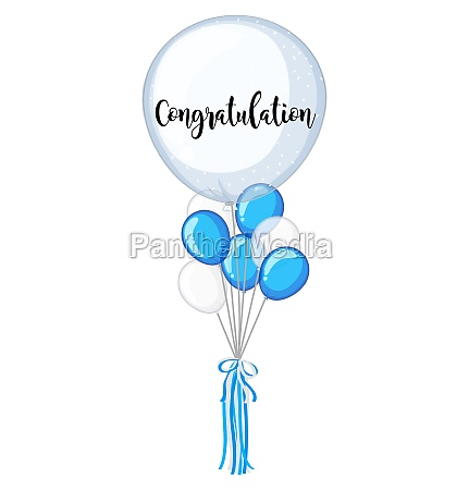 blue and white balloons with word