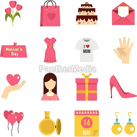 mothers day icons set in flat