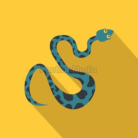 blue snake with spots icon flat