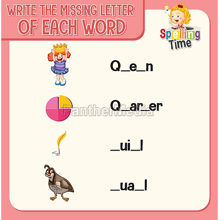 write the missing letter of each